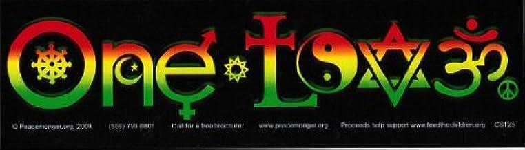 Amazon Com One Love Logo With Symbols In Rasta Reggae Colors Bumper Sticker Decal Automotive