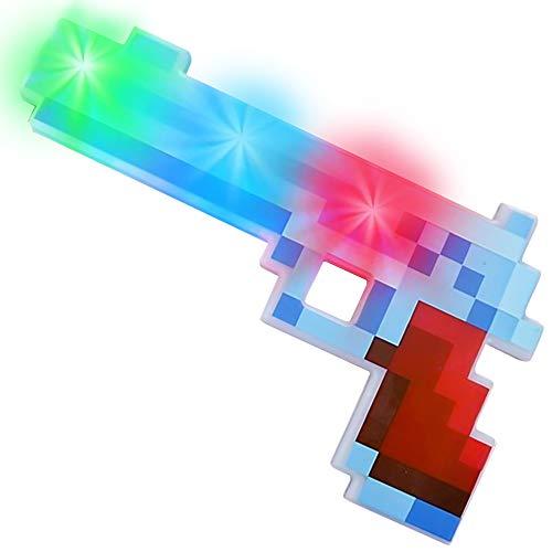 ArtCreativity 10 Inch Light Up Pixel Pistol Toy with Flashing LEDs - Cool Retro Pixelated Plastic...