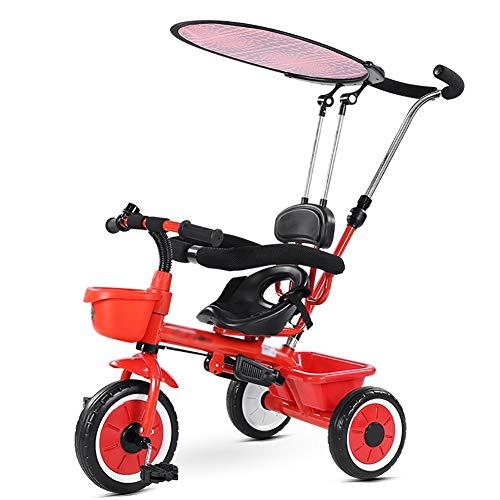 XHSLC Trikes 3 in 1 kinderhand push driewieler met zonneklep 1-2-3-5 jaar oud kinderbabypedaal (kleur: wit)