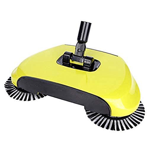 Lazy 3 in 1 Huishoudelijke Schoonmaak Hand Duw Automatische Sweeper Bezem - Inclusief Bezem Stofzuigercontainer Vuilnisbak - Reiniger Zonder Elektriciteit Milieu Vegen Machines Geel