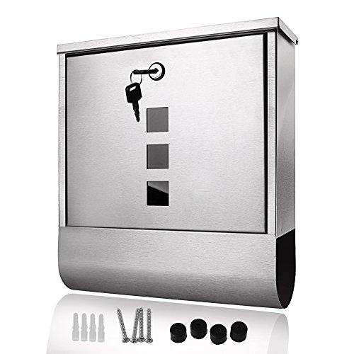 Acecoree Buzón de Pared Acero Inoxidable Caja de Correo Exterior 30.5 x...