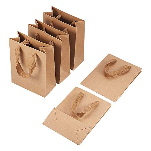 PandaHall 10Pcs Rectangular Brown Kraft Paper Bags 16x12x5.7