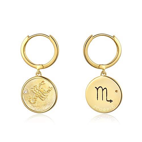 YFN Sterling Silber Skorpion Creolen Horoskop Sternzeichen 12 Sternbild Ohrringe für Frauen Mädchen 14mm (Scorpio Creolen)