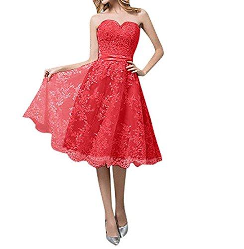 Cloverbridal Hochzeitskleider Für Damen Weiß Standesamt Kurz Tüll Spitze A Linie Champagner Brautkleider Rot 32
