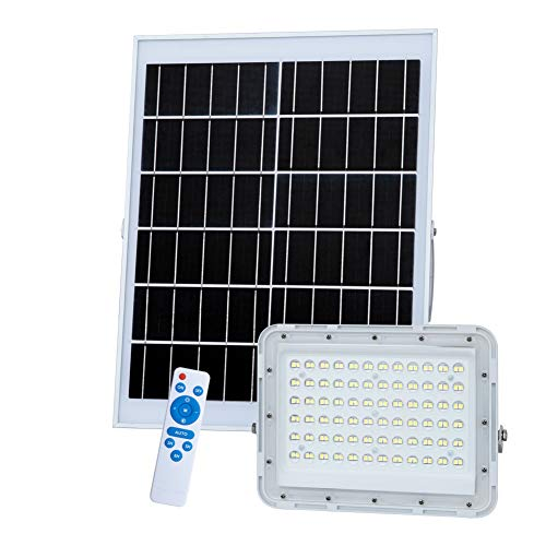 200W LED Solar Flood Lights,20000Lumens Street Flood Light Outdoor IP67 Waterproof with Remote Control Sensing Auto On/Off for Yard, Garden, Gutter, Swimming Pool, Basketball Court,Pathway