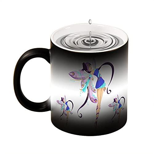 Taza de café con diseño de princesa, mariposa, cómic, colorido, hermoso, taza de café, taza de té, blanco negro, oficina y hogar, apto para lavavajillas y microondas, 330 ml