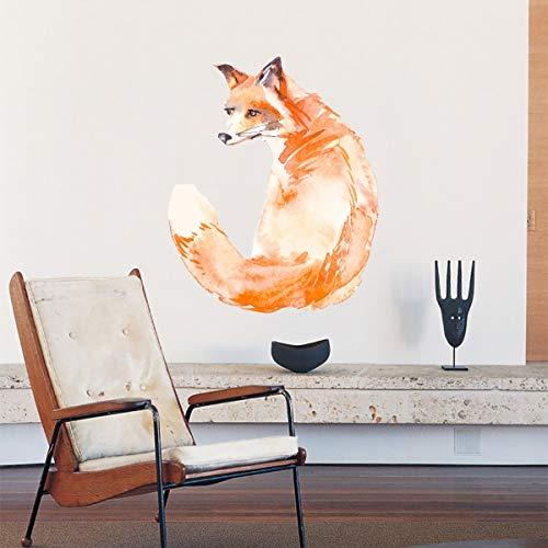 67 * 81cm pegatinas de pared de zorro naranja pintadas a mano para sala de estar dormitorio guardería habitaciones de niños decoración de pared pegatinas de PVC pegatina para el hogar