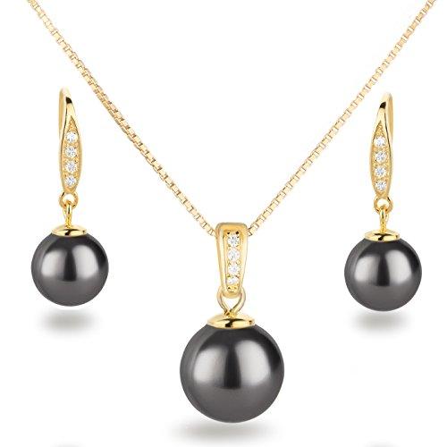 Schöner SD, Schmuckset 925 Silber vergoldet Anhänger, Perlen-Kette und Ohrhänger dunkel-grau