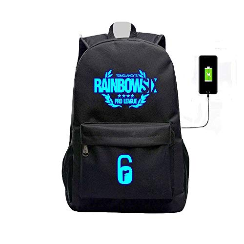 Rainbow Six Siege USB Charging Port Black Oxford Backpack (#2)