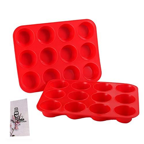 2 Stück Große Muffinform aus Silikon für 12 Muffins, Antihaft Muffinblech Antihaftbeschichtet Backblech Backform für Cupcakes, Brownies, Kuchen, Pudding 33 x 25 x 3 cm (Rot)