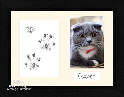 Anika-Baby Cat Animal Patte pattes kit Coastal Cadre photo Noir ensemble de chaton + Support Cadeau mémoire empreintes personnaliser vous-même