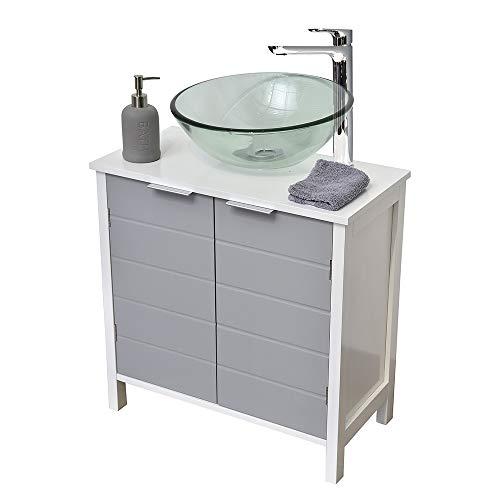 TENDANCE Mueble Encima del Lavabo o Fregadero - 2 Puertas y 1 estantería - Color Blanco y...