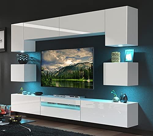 FURNITECH BESTA Möbel Schrankwand Wandschrank Wohnwand Mediawand mit Led Beleuchtung Wohnzimmer (LED blau, GAN1-17W-HG21 1B)