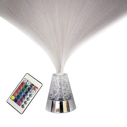 Luz de noche de fibra óptica de control remoto con 16 cristales cambiantes de color Lámpara