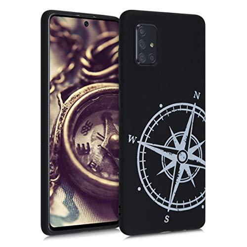 kwmobile Hülle kompatibel mit Samsung Galaxy A71 - Handyhülle - Handy Case Kompass Vintage Weiß Schwarz