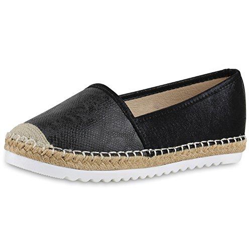 SCARPE VITA Damen Espadrilles Metallic Slipper Bast Profilsohle Flats Schuhe 160344 Schwarz Metallic 36