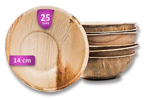 Waipur Bio Palmblattschalen - 25 Schalen Ø 14 cm / 400 ml - Premium Einweggeschirr kompostierbar - Einweg Suppenteller - Palmblatt Suppenschale