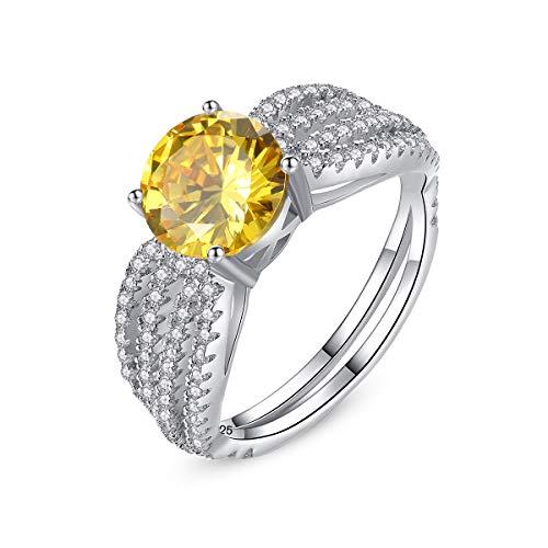 Esberry Prinzessin Diana William Kate Ring Verlobungsring damenring 925 Sterling Silber Eingelegter Gelber Kristall Edelstein Ring Mehrere Größenoptionen