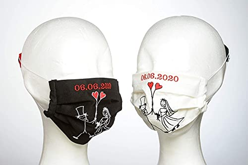 Stoffmaske Hochzeit bestickt 2 St. 40 € (auch mit Namen möglich), SisterActs Edle Design Mund-Nasen-Abdeckung-Hochzeitsgeschenk