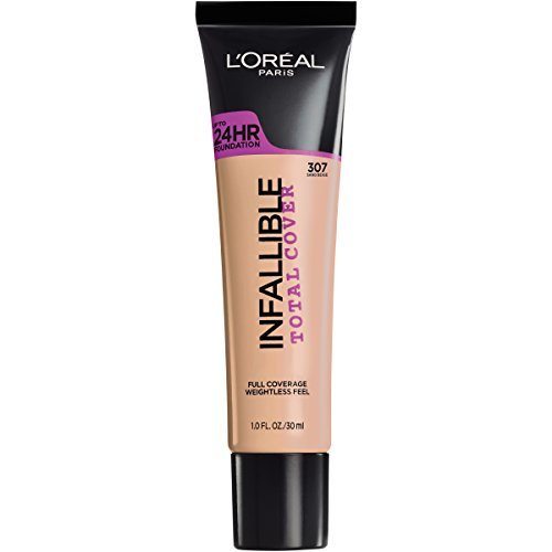 L'Oreal Paris Infallible Total Cover, Weightless, Full Coverage Foundation - 307 Sand Beige - 1 fl oz