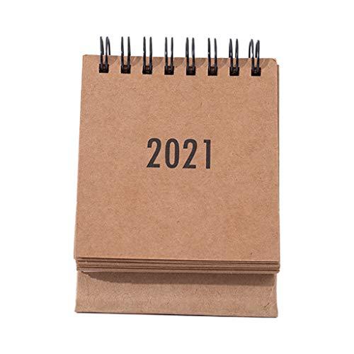 Calendarios de Escritorio, Mini Calendario de Escritorio 2021 - Calendario abatible de pie Calendario de Escritorio/Pared para planificar la organización del Programador Diario - Color de Papel Kraft