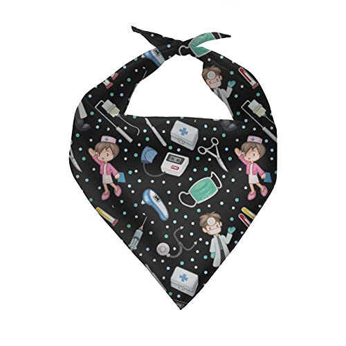 Howilath Dog Bandana Triangle Bibs Scarf Accessories, Nurse Black Puppies Scarf Adjustable Accessories for Dogs Cats Holiday Costume Birthday Bandana