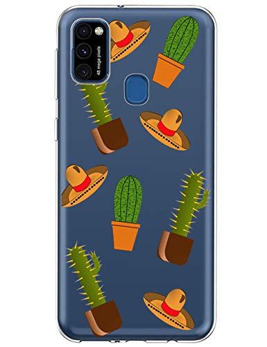 vivio Hülle Kompatibel mit Samsung Galaxy M31 Handyhülle Blume Marmor Design Muster Transparent Weich Silikon Clear Schutzhülle Ultra-Dünn SchaleSilikonhülle Für Samsung Galaxy M31