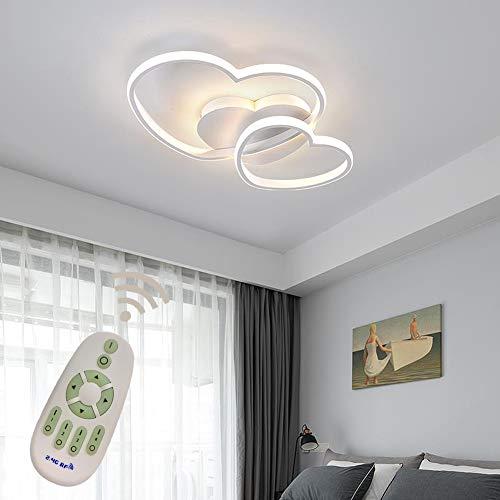 40w LED Deckenleuchte Dimmbar Kinderzimmerlampe Mädchen Schlafzimmer Lampen mit Fernbedienung, Liebe Herz Design Acryl-schirm Metall Deckenlampe für Küche Esszimmer Deko Decke Leuchte Ø50*H5cm Weiß