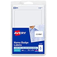 (1,800 name tags, White) - Avery White Print or Write Name Badge Labels, 5.1cm - 0.9cm x 7.6cm - 1cm, 100 Labels per Pack, Case Pack of 18 (5147)