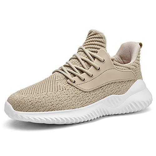 Akk Womens Comfortable Walking Shoes - Long Time Standing Work Slip On Jogging Outdoor Sneakers Beige US 10