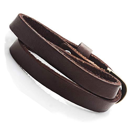 Urban-Jewelry Atemberaubendes Dunkelbraunes Leder Wickel Armband Lederarmband für Sie und Ihn, Unisex (Größe einstellbar)