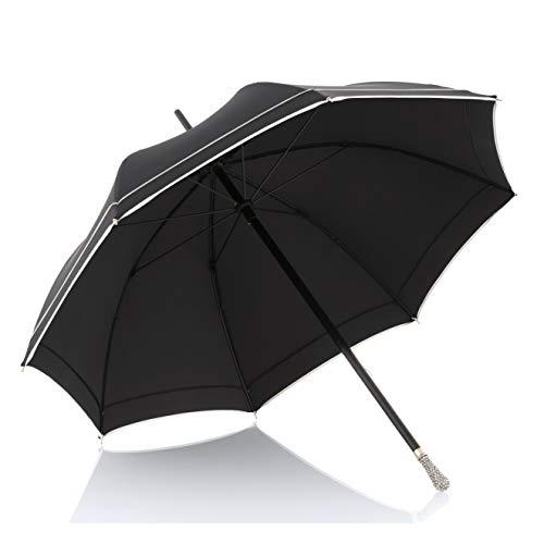 Doppler Manufaktur Crystalized dames paraplu – stabiel – Swarovski kristallen op het handvat – stormvast – handwerk