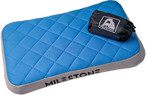 Milestone Leichtes Kissen für Reisen, Camping, Rucksackreisen und Reisen, aufblasbar und kompakt