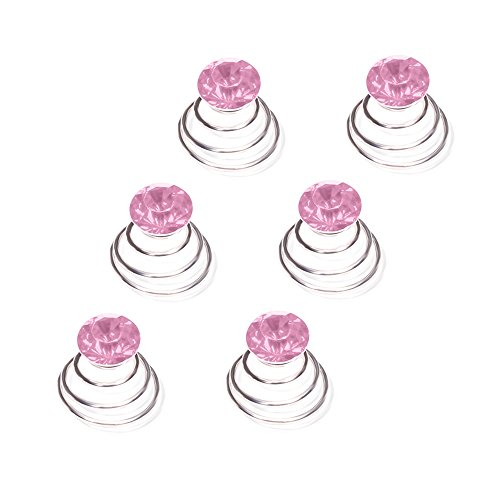 Autiga Haar Curlies Kristall Haarspiralen Haarcurlies Hochzeit Braut Haarschmuck versilbert Kommunion rosa 6er Set