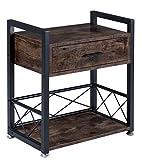 BOTONE Beistelltisch mit Schublade und Boden, Nachttisch, Wohnzimmertisch, Metallgestell, auch als Rollwagen Servierwagen für Wohnzimmer, Schlafzimmer, Bad, Küche, Vintage, Füße...