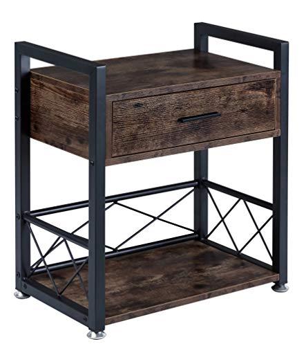 BOTONE Beistelltisch mit Schublade und Boden, Nachttisch, Wohnzimmertisch, Metallgestell, auch als Rollwagen Servierwagen für Wohnzimmer, Schlafzimmer, Bad, Küche, Vintage, Füße verstellbar 52x30x61cm