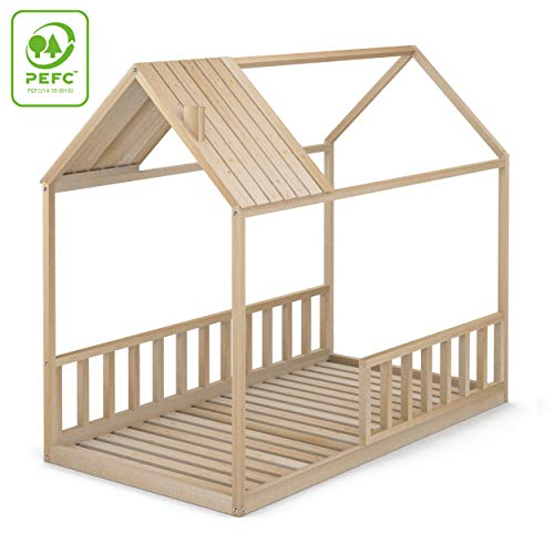 Cama Infantil Tipo Montessori, Casita Madera Natural con Barrera Barandilla, para niño y niña, 90 x 190 cm