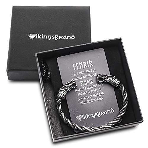 VikingsBrand Viking Bracelet for Men - Pagan Jewelry - Norse God Odin Wolf Heads Arm Rings