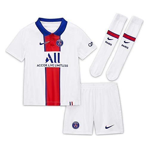 NIKE Paris Saint-Germain Temporada 2020/21-PSG LK NK BRT AWCD4593-101 Kit Completo Segunda Equipación, Niño, White/Old Royal Full Sponsor, XL