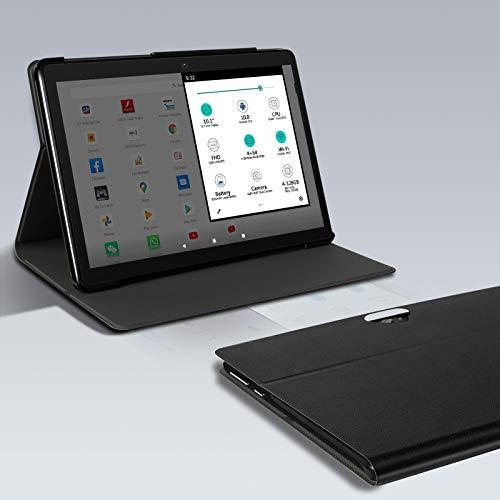 MEBERRY Tablette Tactile Android 9.0 Pie - Tablettes 10 Pouces HD avec 4 Go RAM 64 Go ROM - Certification Google GSM - 4G LTE Dual SIM &Dual Caméra,8000mAh,WI-FI,Bluetooth - Corps en métal Noir