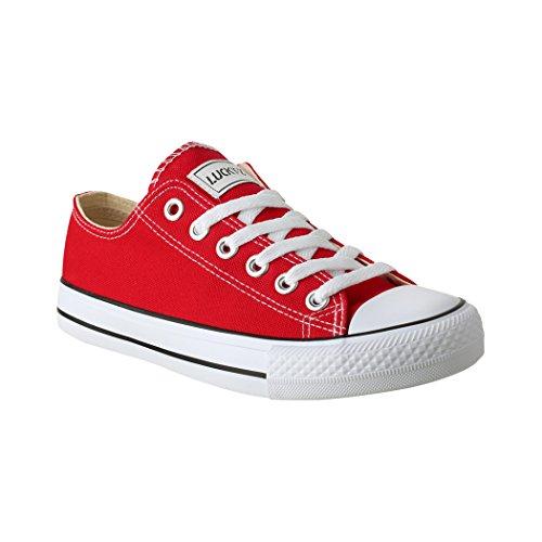 Elara Lucky-Z Unisex Sneaker Textil Turnschuh Low top Chunkyrayan 089-A-Rot-43