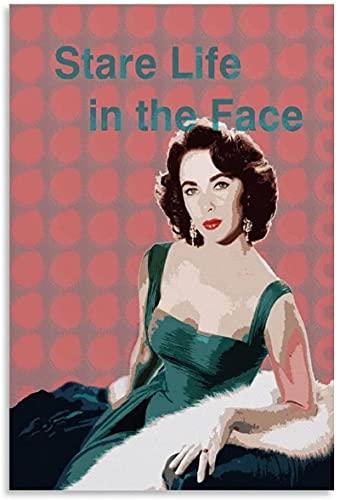 Lienzo Pintura Al Óleo 30x50cm Sin Marco Carteles de decoración de dormitorio familiar moderno con impresión de imagen artística de pared de arte moderno de actor de cine de Elizabeth Taylor