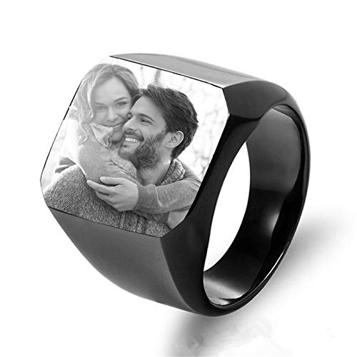 Custom Photo Ring Personalized Ring Titanium Steel Ring Men'S Ring Promise Ring Anniversary for Boyfriend(Black U 1/2)