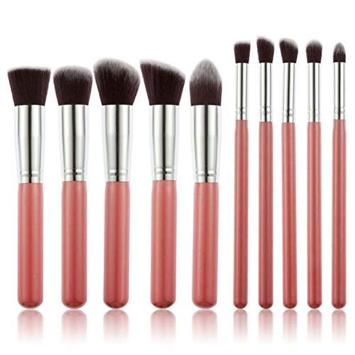 LIANMIBA Kosmetika 10 Make-up Pinsel Set Puder Gesicht Blush Foundation Kontur Augenlippe Makeup Kosmetische Bürste (Handle Color : PinkSilver)