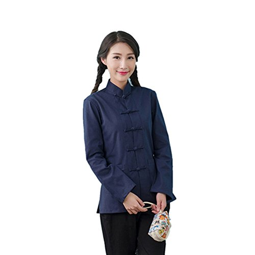 ZooBoo Womens Chinese Martial Arts Cotton Linen Long Sleeve Tang Suit Shirt Kungfu Tops (XL, Navy Blue)
