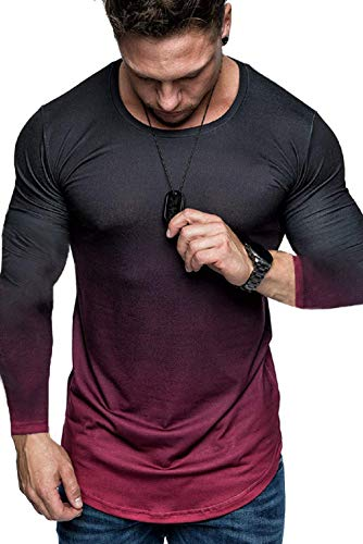 Koloyooya Mens Round Neck Gradient Long Sleeve T-Shirt Sports Gym Muscle Slim Top (Gradient Red, 3XL)