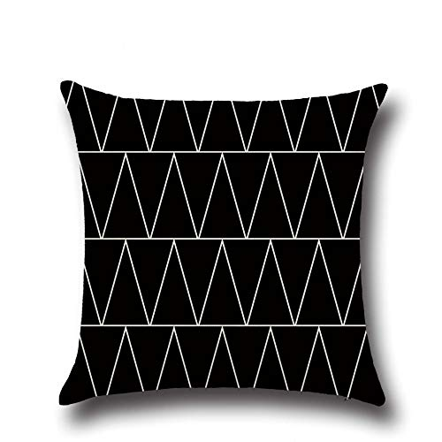 Funda de cojín de lino con estampado de letras geométricas negras, funda de almohada para sofá, dormitorio, decoración del hogar, funda de almohada para abrazar, funda de cojín A8, 45x45 cm, 2pcs