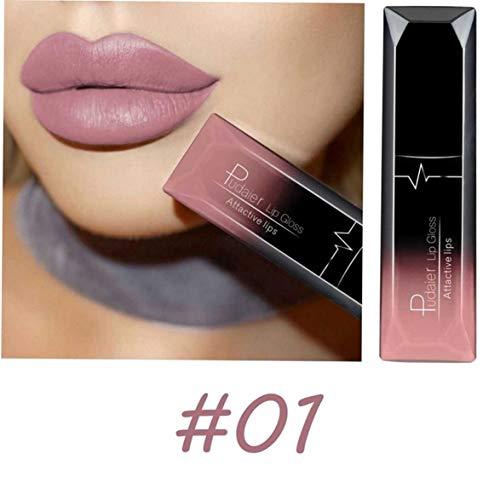 Sylvialuca Langlebiger flüssiger Lippenstift Soft Matte Velvet Lipgloss Antihaftbecher Lippen...