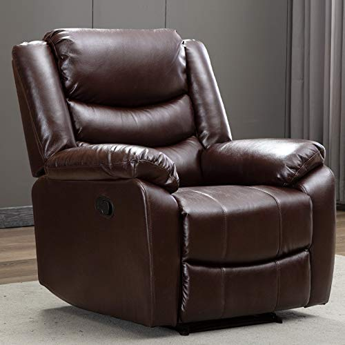 ANJ Recliner Chair with Overstuffed Arm and Back, Breathable Bonded Leather Classic Recliner Single Sofa Home Theater Seating (Brown)