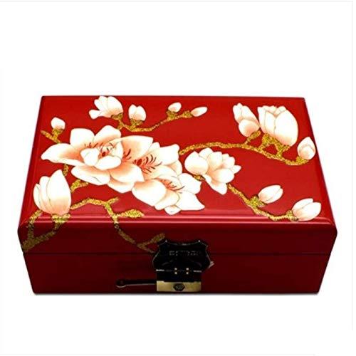 YFQHDD Caja de joyería antigua de madera de doble capa, forma de magnolia adecuada para regalos de amigos y familiares